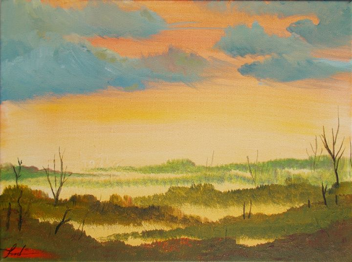 Swampy Sunset - Pumpkin Art