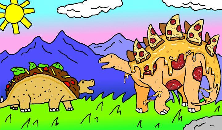 Tacosaurus meets a Pizzasaurus - Tacosaurus