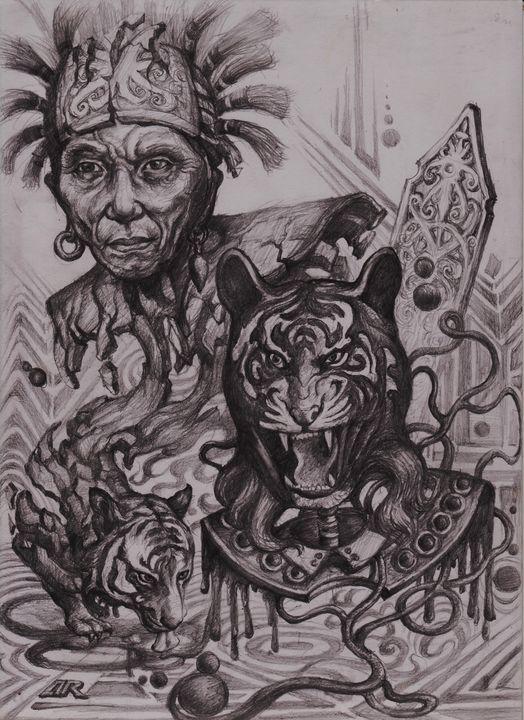 Drawing. Dayak Warrior. - ARHARRA ART
