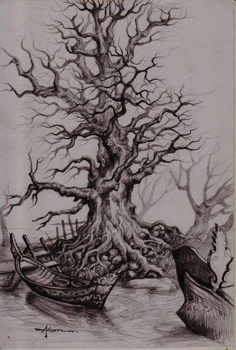 Pencil drawing trees, - ARHARRA ART