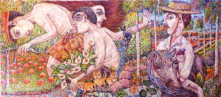 Peasants Stirring Flowers - Amadonart Gallery