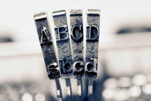 ABCD with old typewriter hammers