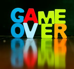 GAME OVER with wooden letters