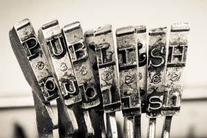 the word  PUBLISH with old type