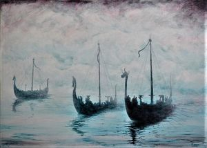Viking ships from the Mist - Malcolm Sutherland