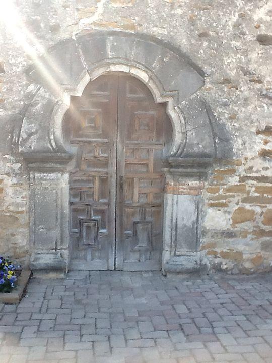 Mission Espada Door with Sun Rays - JupiterFreeman