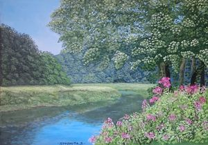Flowers on river bank