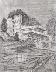 Falling Water - Pencil Drawing
