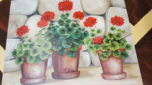 Geraniums #2 - Decorative Painting by Marsha