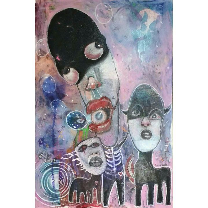 Clown in Bubbles - joyce pettiford