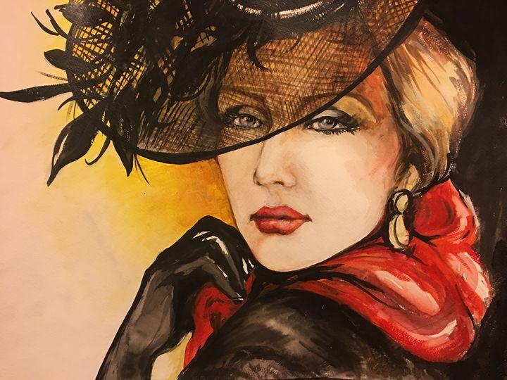 The Red Scarf - Sona Manoukian Art