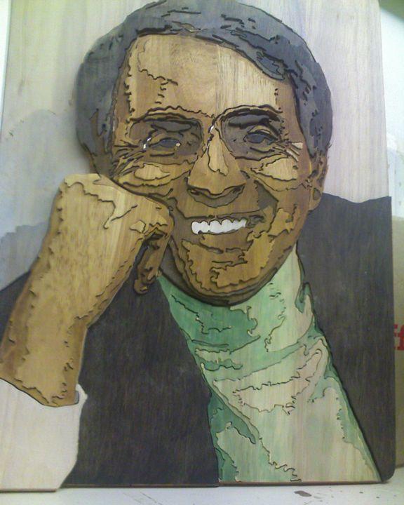 Carl Sagan segmented relief portrait - Scroll saw art