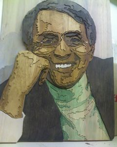 Carl Sagan segmented relief portrait