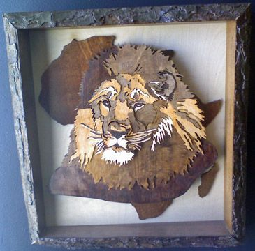 Lion in Africa - Scroll saw art