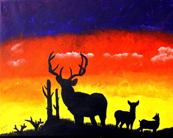 Sunrise Deer Silhouette - Raven's Claw Fine Art