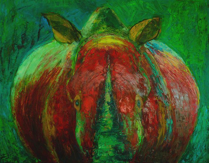 Rhinocerus art oil painting - Modern Oil Painting Gallery