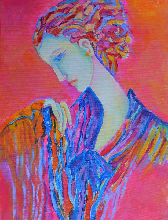 Lady Pink canvas oil original art - Modern Oil Painting Gallery