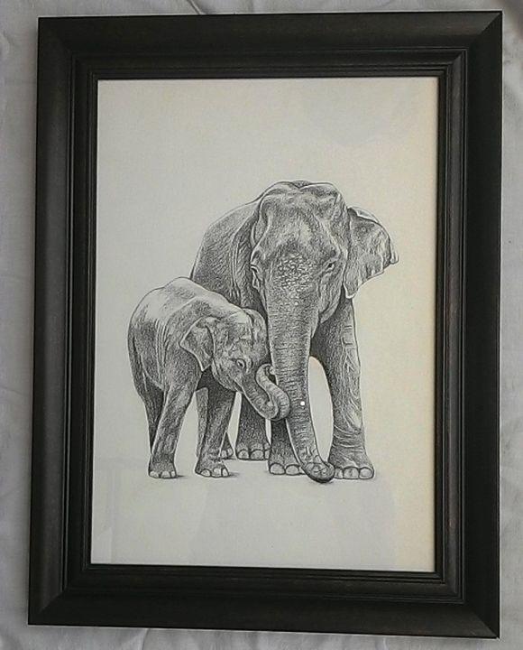 Indian Elephant n baby - Mrudula