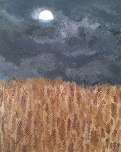 Wheat Field at Night - Katie Kaboom Art