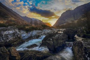 Sunrise over the River Coe