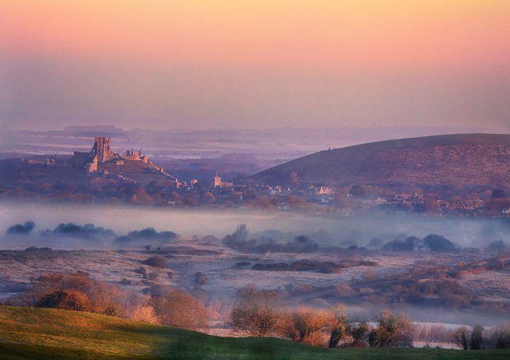 Sunrise over Corfe Castle - Ceri David Jones
