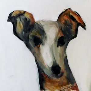 Dog Art Whippet Oil Pastels - EricaJ-LA Dog Portraits