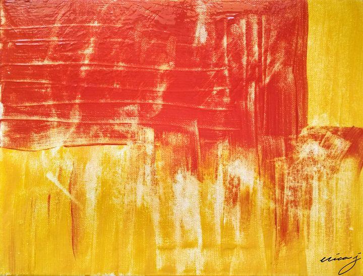 Red and Orange Abstract Acrylic - EricaJ-LA Dog Portraits