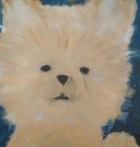 Pomeranian Acrylic Painting - EricaJ-LA Dog Portraits