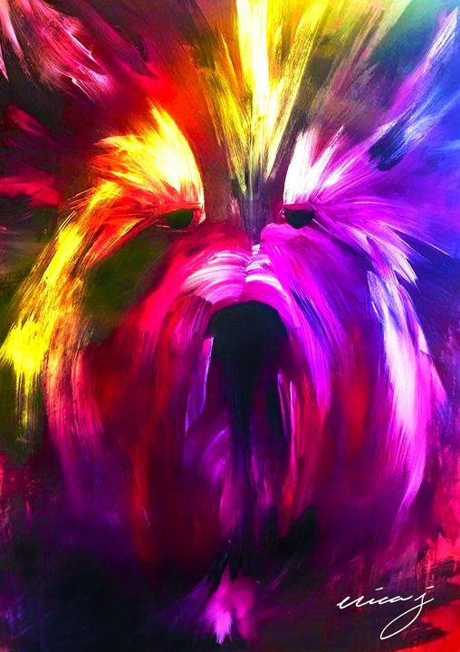 Rainbow Terrier Acrylic Painting - EricaJ-LA Dog Portraits