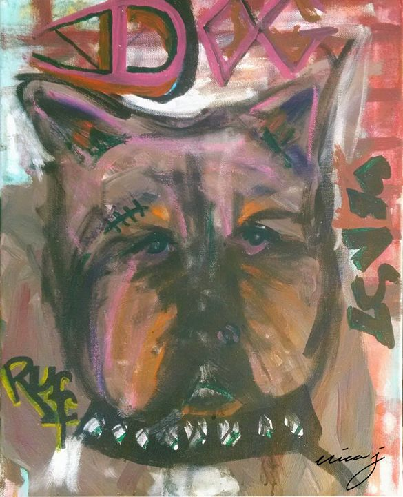 Ruff Dog Acrylic Painting - EricaJ-LA Dog Portraits
