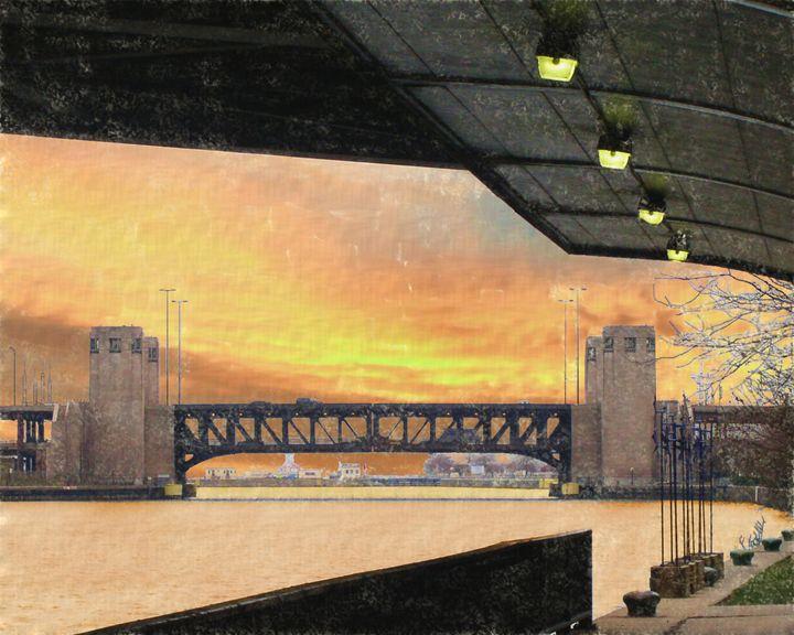 Sunrise over Lakeshore Drive Bridge - GullPhoto Art