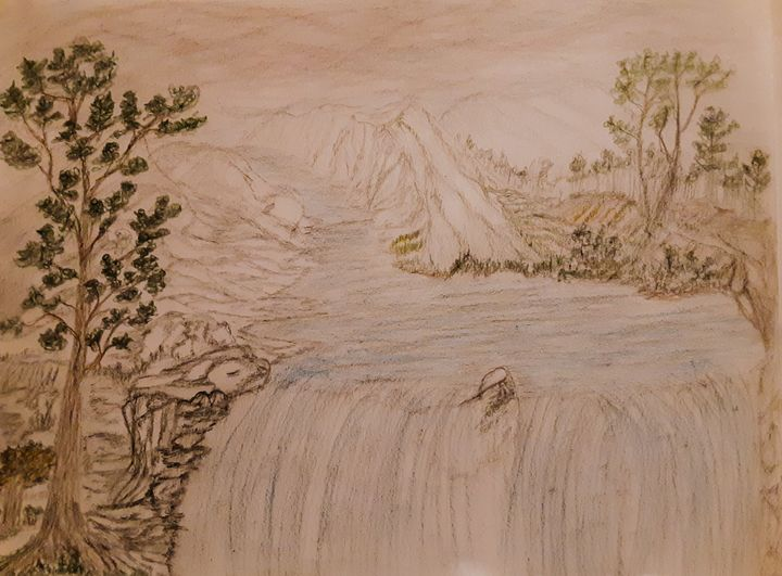Happy Waterfall - Landscape & Abstract Pencil Art