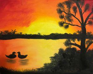 Ducks on sunset