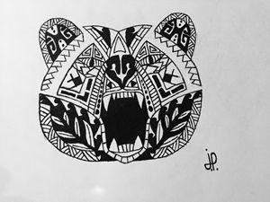 Polynesian style bear head