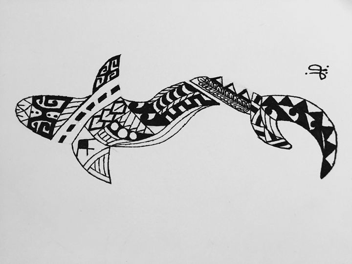 Polynesian drawn shark - Jp