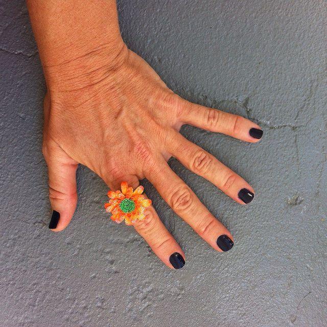 Harajuku Orange Flower Ring - Kultof8