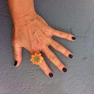 Harajuku Orange Flower Ring