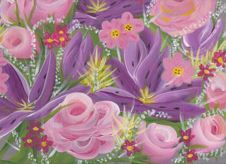 Pink & Purple Floral Collage - Sue's Art