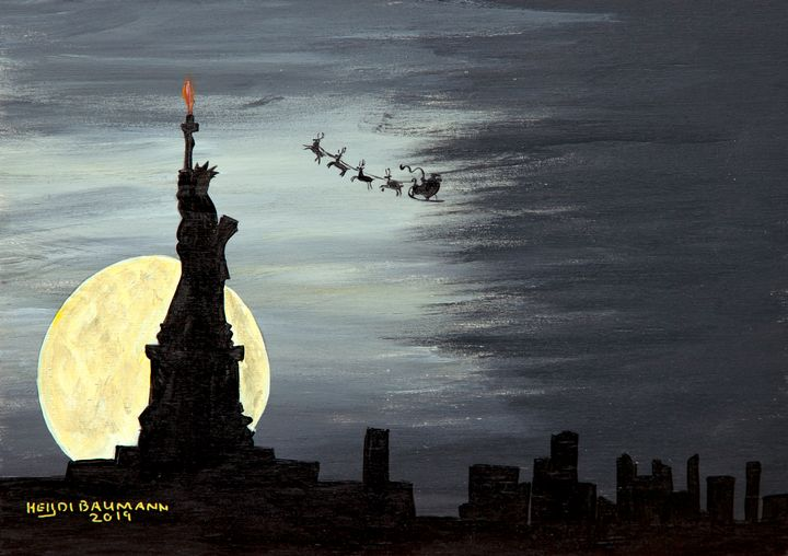 Santa above New York - Heijdi's fantastic painted World