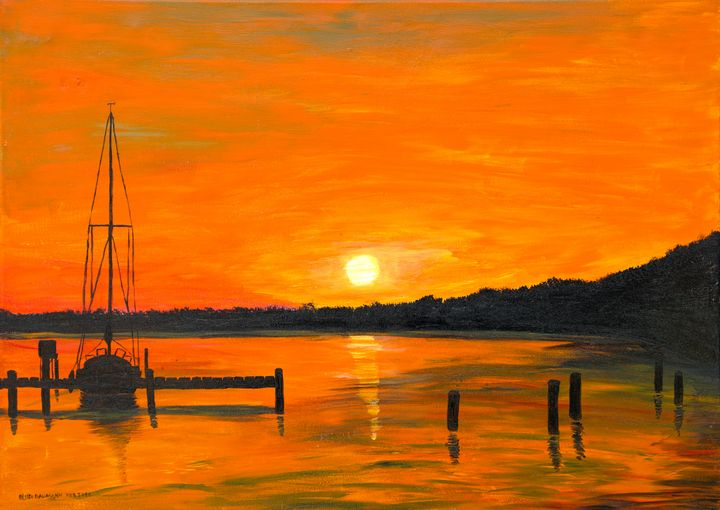 Sunset in the Harbour - 01 - Heijdi's fantastic painted World