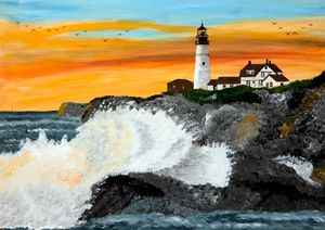 Portland Head Sunset Wave - 02 - Heijdi's fantastic painted World