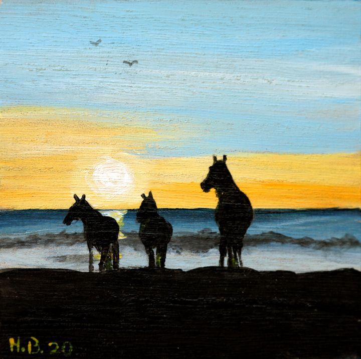Little Horses on the Beach - LSU - Heijdi's fantastic painted World