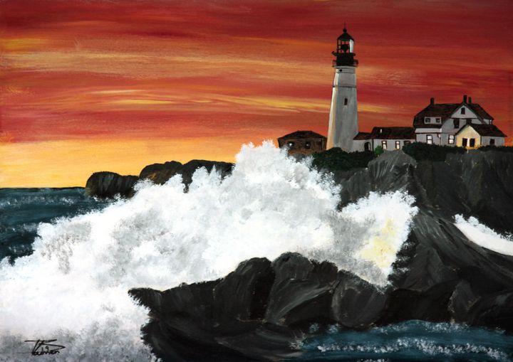 Portland Head Sunset Wave / 01 - Heijdi's fantastic painted World