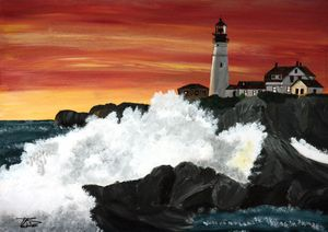 Portland Head Sunset Wave / 01 - Heijdi's fantastic painted World