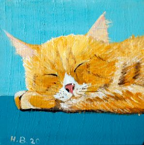 Sleeping red Tomcat - LSU - Heijdi's fantastic painted World