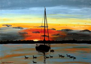 Sunset on Lake Michigan - Heijdi's fantastic painted World
