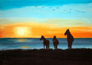 Horses on Seashore / 01