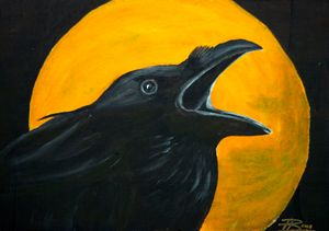Crow at Full Moon - Heijdi's fantastic painted World