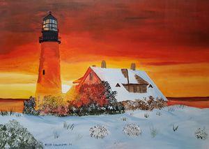 Portland Head Light in winter - Heijdi's fantastic painted World