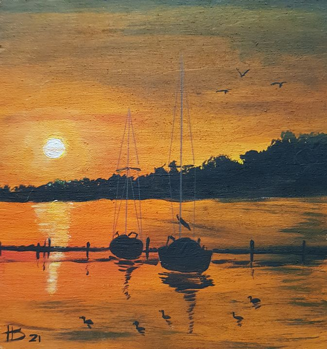 Little Sunset in the Harbour - 01 - Heijdi's fantastic painted World